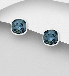 925 Sterling Silver Earrings Authentic Swarovski/Plata Esterlina Aretes