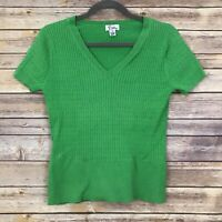 Lilly Pulitzer Kelly Green V Neck Short Sleeve Stretchy Top Women's Size Small