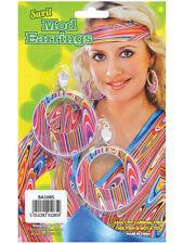 60s Groovy Mod GoGo Girl Swirl Clip On Hoop Earrings Hippy Fancy Dress Accessory