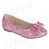 New girl's kids slip on glitter bow flower girl dress shoes formal wedding Pink