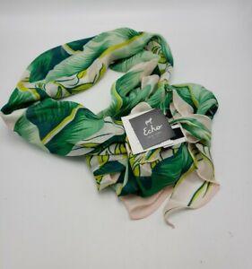 $69  Echo Azure  silk triangle Multi Color Leave  Pink  Tones Scarf P117