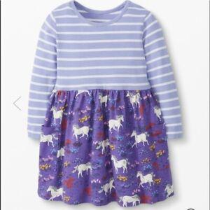 HANNA ANDERSSON Girls 18-24 Months dress purple unicorn stripe pockets long slee