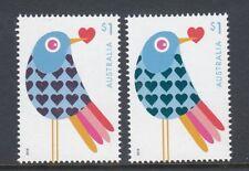 AUSTRALIA 2018 - VALENTINE DAY LOVE BIRD & Heart ENHANCED PAIR  set of 2 MNH