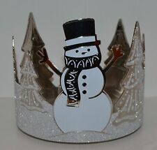 BATH & BODY WORKS SPARKLY SNOWMAN TREES 3 WICK CANDLE HOLDER SLEEVE