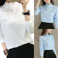 Fashion Women's Blouse Shirt Tops Casual Stand Long Sleeve Solid Blouses Shirts