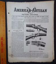 RARE American Artisan Journal 1867 GUN Hammond's Breech-loading Firearm Rifle