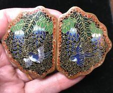 Chinese Antique Cloisonne Enamel buckle belt bird wisteria Asian oriental