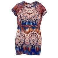 Zara Collection Womens Pink/Blue Cap Sleeve Sheath Dress Size L