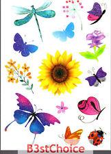 REGNO Unito Farfalla Girasole Fiore Bambina Festa Crystal Shiny Glitter Tatuaggio Temporaneo