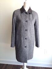 J.CREW Collection Herringbone Wool Coat Beaded Collar Sz 4 Gray b12222 $650