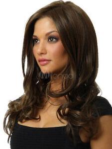 USJF10208 charming new Stylish long dark brown wavy wig hair Wigs For Women