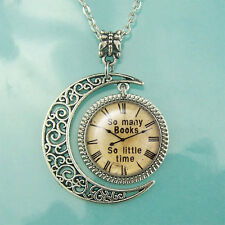 necklace Old Clock Steampunk jewelry Pendant So many books So little time watch