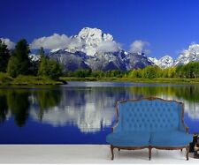 Wall mural wallpaper - For bedroom & living room Mountains over lake 254x183 cm