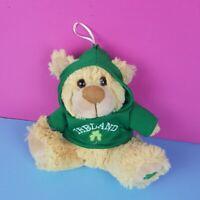 "Allied Tan Plush Teddy Bear Ireland Green Hoodie Stuffed 7.5"" Shamrock Clover"
