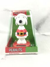 """Peanuts Christmas Snoopy with Red Santa Suit Solar Bobble Head 4 1/4"""" New"""