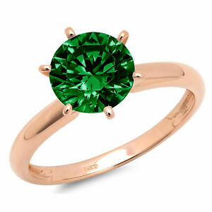 2.5ct Round Cut Simulated Emerald 18k Rose Gold Wedding Promise Bridal Ring
