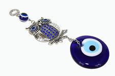 Owl Blue Evil Eye Protection Hanger Blue Rhinestones Medallion Turkish Feng Shui