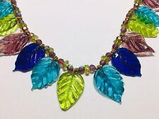Handmade Artisan Glass Leaf Beaded Necklace Turquoise Blue Green Purple