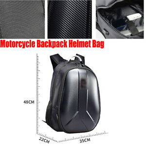 1x Motorcycle Backpack Helmet Bag Extendable Packsack Waterproof USB Practical