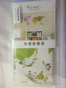 decowall world map (nursery / kids)  removable wall stickers  dmt 1306n (unused)