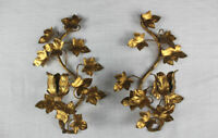 Pair of gold metal / tole wall candle holder w flowers & leaves Italian Italy