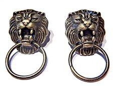 BRONZE LION DOOR KNOCKER EARRINGS classic cat head face ring stud steampunk V2
