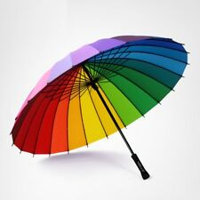 24k Rib Rainbow Color Big Sunny Umbrella Long Handle Windproof Straight Parasol