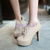Women's Block High heel Platform Loafer Lace Up Round Toe Ankle Boots Shoes Size