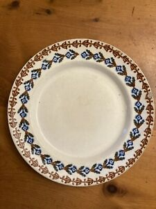 Double Row Stick Spatter Plate Blue & Brown Staffordshire Marked Mayer Ca 1890