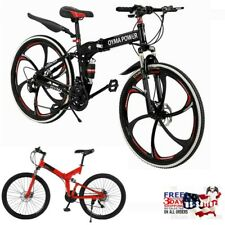 26in Folding Mountain Bike Shimanos 21 Speed Bicycle Full Suspension MTB Bikes M