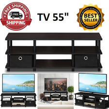 TV Up to  55 Inch Large Entertainment Stand, Black wood FREESHIPPING USA