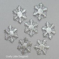 100 x 25mm argent matériau flocon de neige loose embellissements parfait 4 frozen thème