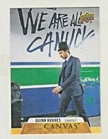 2020-21 Upper Deck UD CANVAS #C80 QUINN HUGHES Vancouver Canucks