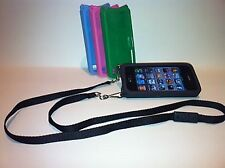 iPhone 4 4s Case PINK with Black Adjustable Detachable Safety Lanyard