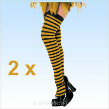 2 Paar Ringelstrümpfe schwarz/gelb  Stulpen Strümpfe Ringelsocken Kostüm Biene