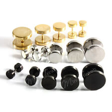 Mens Women Surgical Steel Fake Plug Stud Barbell Stretcher Earrings Gift Present