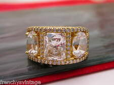 Gold Over Sterling clear CZ cubic zirconia Ring size sz 9