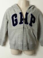 BOYS BABY GAP AGE 2 YEARS GREY HOODED ZIP UP SWEATSHIRT JACKET TOP