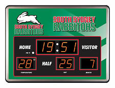 SOUTH SYDNEY RABBITOHS NRL SCOREBOARD LED Glass Clock Date Time Temp Man Cave