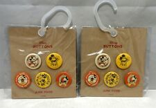 Junk Food Mickey Mouse Button Set 5 Count - Lot of 2