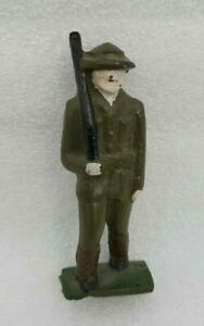 """Antique Vintage Cast Iron Toy WWII WWI ARMY Soldier Standing  W/ Gun 3"""" Tall"""