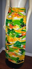Vintage 1960s Skirt Leslie Fay Long Yellow Green Pattern Wrap Belted Sz S