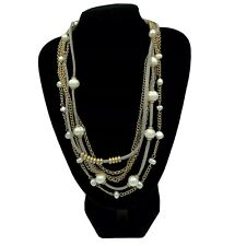 INC Faux Pearl Multi Strand Necklace Gold Chain Leather Strips NWTs