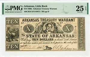 1862 Cr.54 $10 ARKANSAS Treasury Warrant - CIVIL WAR Era PMG VF 25 EPQ