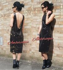 ZARA BLACK SEQUIN LOW BACK GOLD DRESS SIZE S UK 8
