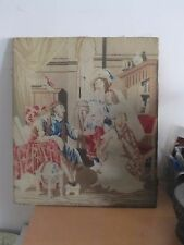 """Antique European Berlin Woolwork Needlepoint Tapestry Victorian Parlor 16""""x 18"""""""