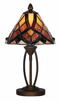 TIFFANY STYLE UNIQUE STAINED GLASS DESK TABLE LAMP LIGHT - 7.87'' WIDE