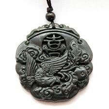 Black Green Jade Amulet Pendant Happy Lucky Phoenix Word Xi