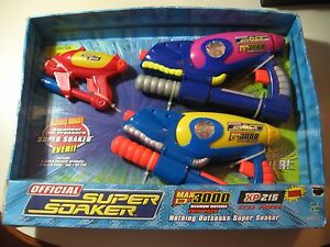 3 Super Soaker Pack (two Max D 3000 & one XP 215) Brand New Sealed