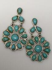 Sterling Silver Kingman Turquoise Floral Cluster Drop Earrings QVC J298402